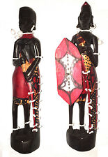 Masai Warrior and Woman Wood Carving with Painting - HandMade Masai Wood Carving