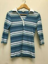 Womens Fat Face Blue and WhiteStriped Collared 3/4 Sleeve Cotton Top -Size 6