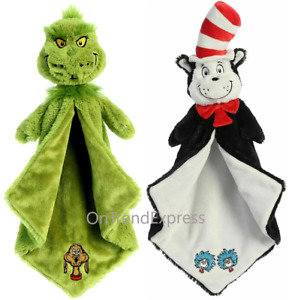 """2 x DR SEUSS 20"""" & Grinch Luvster 18"""" Blanket Plush Soft Toy Comforter FREE POST"""
