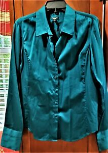 Talbots teal green long sleeve wide cuff button front blouse SZ 12