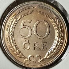 Rare 1924 Sweden 50 Ore Silver Coin - Gem Uncirculated  645,368 Minted 93 Y.O.