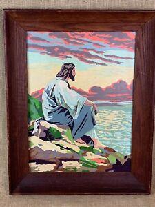 Framed Vintage Paint by Number Jesus Meditating Portrait Wood Framed 19 x 16
