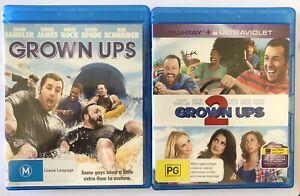 Grown Ups + Grown Ups 2 (Blu-ray) VGC Adam Sandler Spade Comedy Schneider Rock