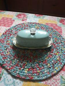 "Pioneer Woman Kari 8"" Butter Dish Stoneware **FLAWED**"