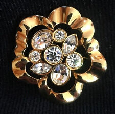 Signed Swarovski Flower Pin Brooch Large Multi-shape Crystal Gold Plated Retired