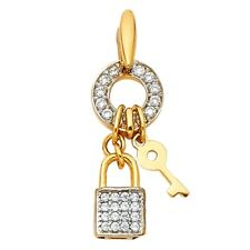 Key To My Heart Love 8 x 20 mm Key Lock Pendant Solid 14k Yellow Gold Charm Cz