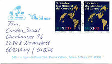 Cover with 2x MEXICO SCOTT # 1677 - Día Mundial del Correo $1500 1994 to Germany
