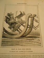 Caricature 1872 - rocking chair Projet de Trone pour l'Espagne se culbutant