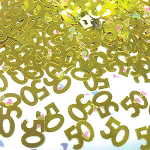 Gold 50th Birthday / Golden Wedding Anniversary Party Table Confetti Decorations