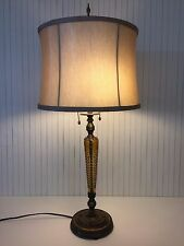 "Vintage Etched Amber Glass Bud Vase & Bronze Table Lamp, 29 1/2"" Tall"