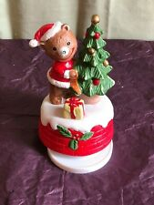 Wind Up Spinning Musical Bear with Christmas Tree