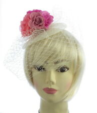 Multi Rosa Crema Mesh Base a rete Fascinator, MATRIMONI, Gare, BALLO