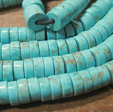 """Turquoise Howlite 10mm Heishi Rondelle 2mm Large Hole Beads 8"""" Leather Wire"""
