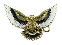 Boucle de ceinture grand aigle royal doré, blanc et noir.