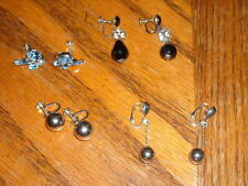 Quality Lot 4 Pair Vintage Clip On Screw Back Earrings with RHINESTONES