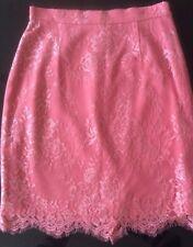 Stunning L.K. Bennett Essie Coral Pink Lace Knee Length Skirt UK12 BNWOT