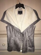 GUESS Women's Zip Up Suede Fur Vest Size Small