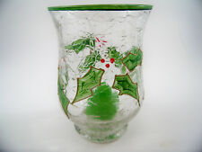 Celebrations Christmas Holly Votive Candle Holder Handpainted, Mouthblowen