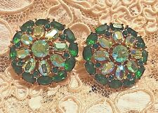 VINTAGE SIGNED CROWN TRIFARI EMERALD GREEN AND AB SPARKLE PLUS CLIP EARRINGS