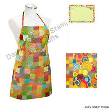 Iota Sadye Apron + 3-Ring Recipe Book Binder & Cards Set Checked Colorful New
