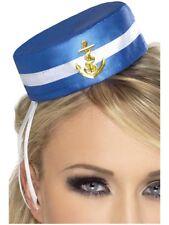 Azul Caja Píldora Mini marinero Sombrero Lindas Para Damas Accesorio de disfraz