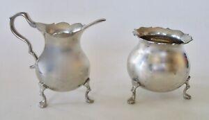 Vintage Pewter Creamer Sugar Set, Hand Made Shirley