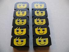 Lego 10 briques noires visages set basique / 10 black bricks with face pattern