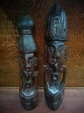 Pair of Hand Carved Wooden Masks Faces Figures Asian Tribal
