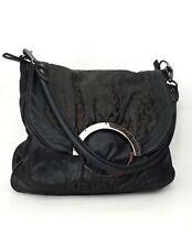 MIMCO Genuine Leather Charcoal Black Animal Pattern Large Shouder Bag Handbag