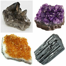 4 Piece Lot: Smoky Quartz Citrine Amethyst Crystal Clusters & Black Tourmaline