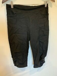 Filo 3/4 Pants - Diamonte Feature At Bottom - Elastic Waist - Size 10 - Black