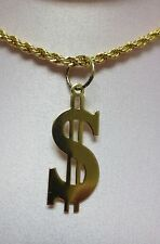 18 INCH 14 KT GOLD PLATED 3 MM ROPE WITH A $  DOLLAR SIGN PENDANT NECKLACE