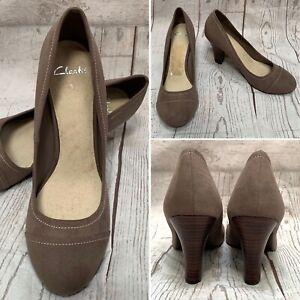 Clarks Taupe Mink Mushroom Brown Smart Formal Workwear Court Shoes 6 UK EUR 39