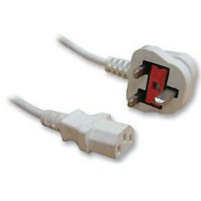 Pluscom White Kettle Power Lead Cable LCD PC, Monitor 3m