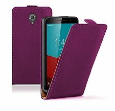 SLIM PURPLE Leather Flip Case Cover Pouch For Vodafone Smart Prime 7 (+2 FILMS)