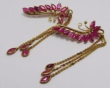 100%Genuine Vintage 12k Solid Yellow Gold 2.8cts Natural Burmese Rubies Hair Pin