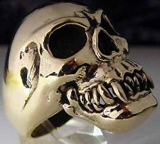 Bronze Fang Skull Biker Ring Custom Size Vampire VooDoo handmade MC R013b