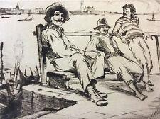 Estampe pointe sèche Lajos Louis Szanto (1889-1965) hommes Port Venise Italie