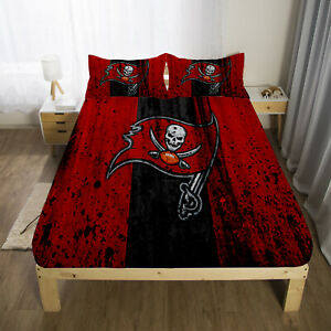 Tampa Bay Buccaneers Fitted Sheet 3PCS Bed Sheets & Pillowcase Bedding Sets