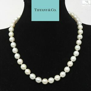 NYJEWEL Tiffany & Co 9mm Pearl Necklace With 18k Clasp