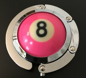 Pool Ball Hanger (Pink 8 Ball ) Will hold your cue case on league night.