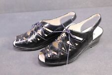C1285 Berkemann Damen Fußbett Comfort Sandalen Lackleder blau Gr. 41 geschnürt