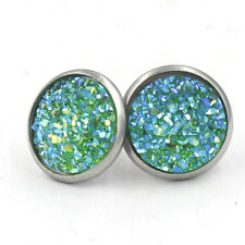 12MM Stainless Steel Iridescent Glitter Small Stud Earrings 12 Colors