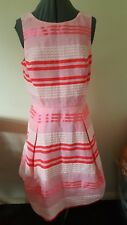 BEAUTIFUL NEW WAREHOUSE PINK STRIPE SKATER DRESS BNWT RRP £65 Size UK 14 VGC