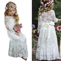 New Autumn Girls Princess Dress Long Sleeve Lace Hollow Elegant Cute Child L1B4