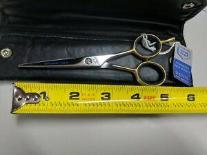 "DOVO Professional Scissors 5"", & 5.5"" Solingen Germany, Gold Handle"