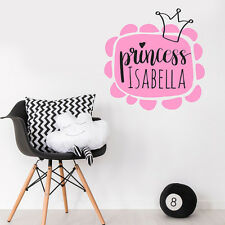 Custom Personalise Name Princess Girl Bedroom Wall Sticker Nursery Decal Decor