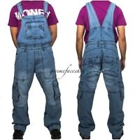 Peviani Mens combat bar denim dungarees, overalls hip hop urban cargo, ladies