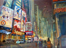 "Times Square Street Scene New York 18x24"" Original Oil Painting Hall Groat Sr."
