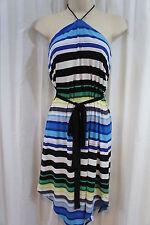 Mattox Dress Sz 8 Black Blue Green Multi Striped Halter Cocktail Party Dress